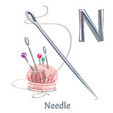 Vector alphabet letter N. Needle. Vector alphabet letter N for children education with cartoon needle. Isolated. Learn to read Royalty Free Stock Image