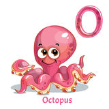 Vector alphabet letter O. Octopus. Vector alphabet letter O for children education with funny cartoon pink octopus. Isolated. Learn to read Royalty Free Stock Image