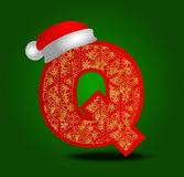 Vector alphabet letter Q with christmas hat and gold snowflakes Stock Image