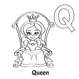 Vector alphabet letter Q, coloring page. Queen. Vector alphabet letter Q for children education with funny cartoon queen. Isolated. Learn to read. Coloring page Stock Photos