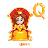 Vector alphabet letter Q. Queen. vector illustration