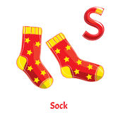 Vector alphabet letter S. Sock. Vector alphabet letter S for children education with funny cartoon socks. Isolated. Learn to read Stock Photos
