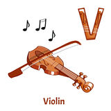 Vector alphabet letter V. Violin royalty free illustration