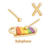 Vector alphabet letter X. Xylophone. Vector alphabet letter X for children education with cartoon xylophone. Isolated. Learn to read Stock Photography
