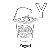 Vector alphabet letter Y, coloring page. Yogurt. Vector alphabet letter Y for children education with with raspberry yogurt. Isolated. Learn to read. Coloring Royalty Free Stock Photo
