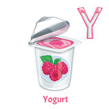 Vector alphabet letter Y. Yogurt. Vector alphabet letter Y for children education with raspberry yogurt. Isolated. Learn to read. Coloring page Royalty Free Stock Photography
