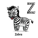 Vector alphabet letter Z. Zebra. Vector alphabet letter Z for children education with funny cartoon zebra. Isolated. Learn to read. Coloring page Stock Photo