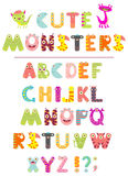 Vector alphabet with letters in the form of cute cartoon monster Royalty Free Stock Image
