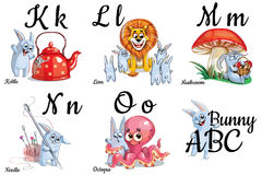 Vector alphabet letters for kids with pictures Royalty Free Stock Photos