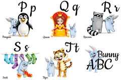 Vector alphabet letters for kids with pictures Stock Photos