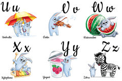 Vector alphabet letters for kids with pictures Royalty Free Stock Image