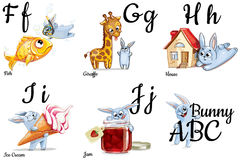 Vector alphabet letters for kids with pictures Stock Image