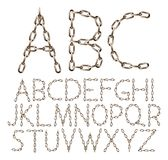 Vector alphabet letters made from brown realistic chain, isolated on white stock illustration