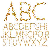 Vector alphabet letters made from golden chain Royalty Free Stock Photography