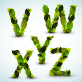 Vector alphabet letters made from leafs stock illustration