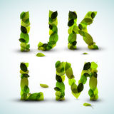Vector alphabet letters made from leafs Stock Images