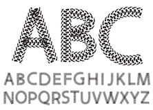 Vector alphabet letters made from motorcycle tire tracks. Isolated on white stock illustration