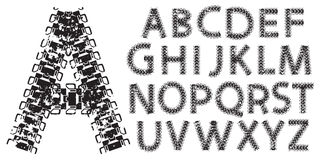 Vector alphabet letters made from tank and tractor tracks. On white stock illustration