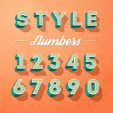 Vector alphabet letters and numbers retro colour style, letters designe. On a grunge background Royalty Free Stock Photos