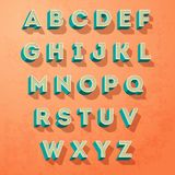 Vector alphabet letters retro colour style, letters designe. On a grunge background Stock Photography