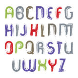 Vector alphabet letters set, hand-drawn colorful script Royalty Free Stock Photo