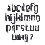 Vector alphabet letters set, hand-drawn monochrome script, dirty Stock Photo