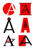 Vector alphabet A logos and icons royalty free illustration