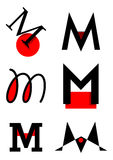 Vector alphabet M logos and icons Royalty Free Stock Photo