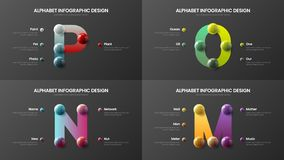 Vector alphabet M, N, O, P symbols infographic 3D realistic colorful balls presentation design illustration bundle. Vector alphabet infographic 3D realistic stock illustration
