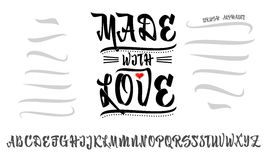 Vector Alphabet. Made with love. Calligraphic font. Unique Custom Characters. Hand Lettering for Designs - logos, badges Stock Photography