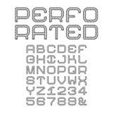 Vector Alphabet mit perforierten Großbuchstaben in der flachen Art stock abbildung