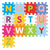 Vector alphabet from N to Z written with puzzle Stock Photo