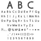 Vector alphabet and numbers Royalty Free Stock Photography