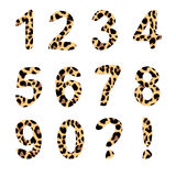 Vector alphabet numbers, trendy leopard pattern. Vector alphabet numbers, exclamation and question mark, trendy leopard pattern, isolated  elements Stock Images