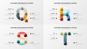 Vector Alphabet Q, R, S, Darstellungsdesign-Illustrationsbündel der Bälle 3D t-Symbole infographic realistisches buntes lizenzfreie abbildung