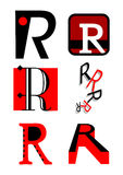 Vector alphabet R logos and icons Stock Image