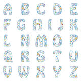 Vector Alphabet with retro pattern. Royalty Free Stock Image