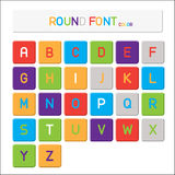 Vector alphabet, Round color font. Simple type Stock Photos