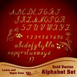 Vector alphabet set. Calligraphic gold alphabet set with lower and upper case and numbers Stock Photos
