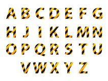 Vector alphabet. Set of striped letters in the form of a protective tape. Repair of building hazard design. Vector illustration. Royalty Free Stock Images