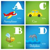 Vector Alphabet set from A to D Royalty Free Stock Images