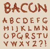 Vector alphabet in the shape of bacon letters. Slices of bacon that spell out each letter of the alphabet Stock Photo