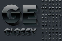 Vector alphabet of simple 3d glossy letters. Condensed style. Black colored font Royalty Free Stock Photo