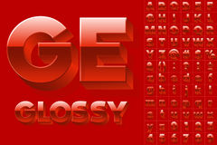 Vector alphabet of simple 3d glossy letters. Sans bold. Red  colored font Stock Photography