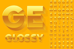 Vector alphabet of simple 3d glossy letters. Sans bold. Yellow colored font Stock Image