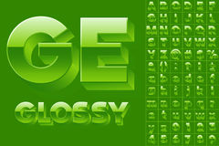 Vector alphabet of simple 3d glossy letters. Slab style. Green colored font Royalty Free Stock Photography