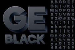Vector alphabet of simple 3d letters. Sans bold. Black colored font Stock Images