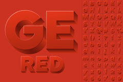 Vector alphabet of simple 3d letters. Sans bold. Red colored font Royalty Free Stock Photography