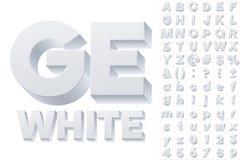 Vector alphabet of simple 3d letters. Sans bold. White colored font Stock Images