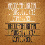Vector Alphabet. Slim Letters and Numbers. Royalty Free Stock Images